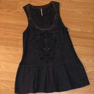 Free people jean tank with embroidery and studs